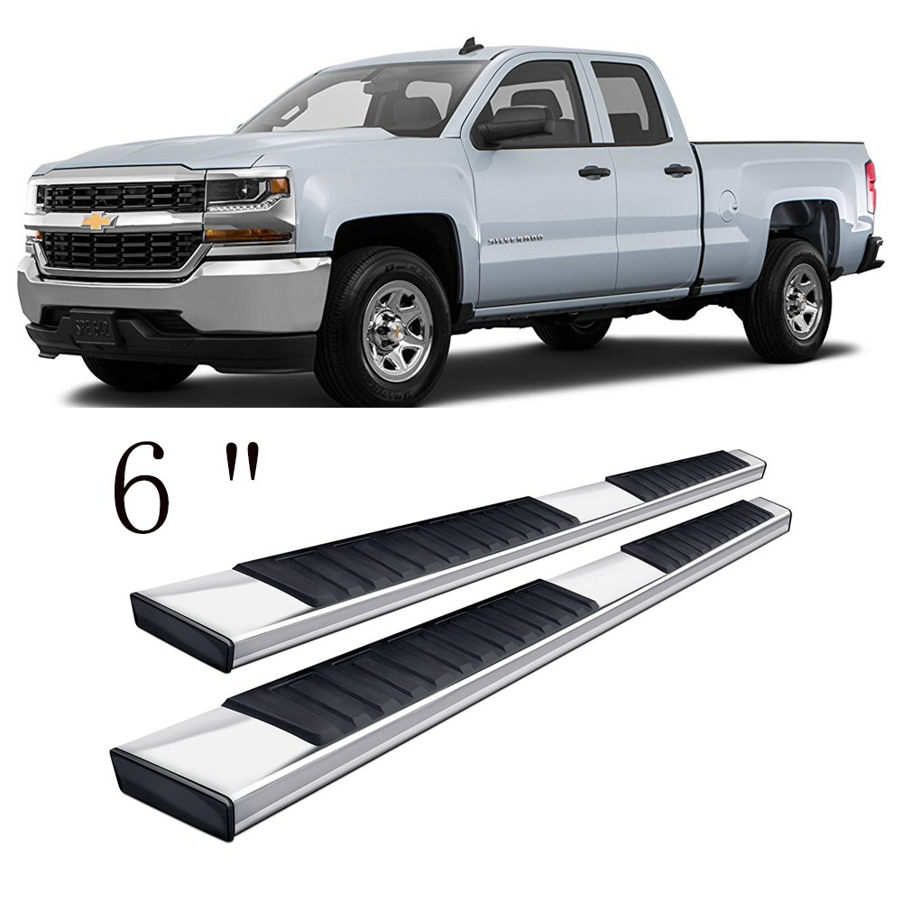 CHEAP Gevog 6 inches Running Boards for 99-18 Silverado/Sierra Extended Cab  (Double Cab, With 2 Full Size Front Door + 2 Half Size Rear Door) Side