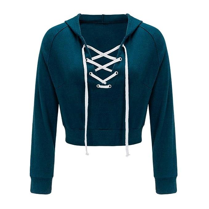 Neu Damen Hoodie Lace-up Bluse Shirt Langarm Pulli Sweatshirt Oberteile Tops