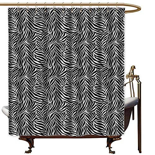 StarsART Shower Curtains with Yellow and Grey Zebra Print Decor Collection,Animal Print Zebra Pattern Fashionable Trendy Decorating Illustration,Black White,W60 x L72,Shower Curtain for Bathroom (Print Footstool Zebra)