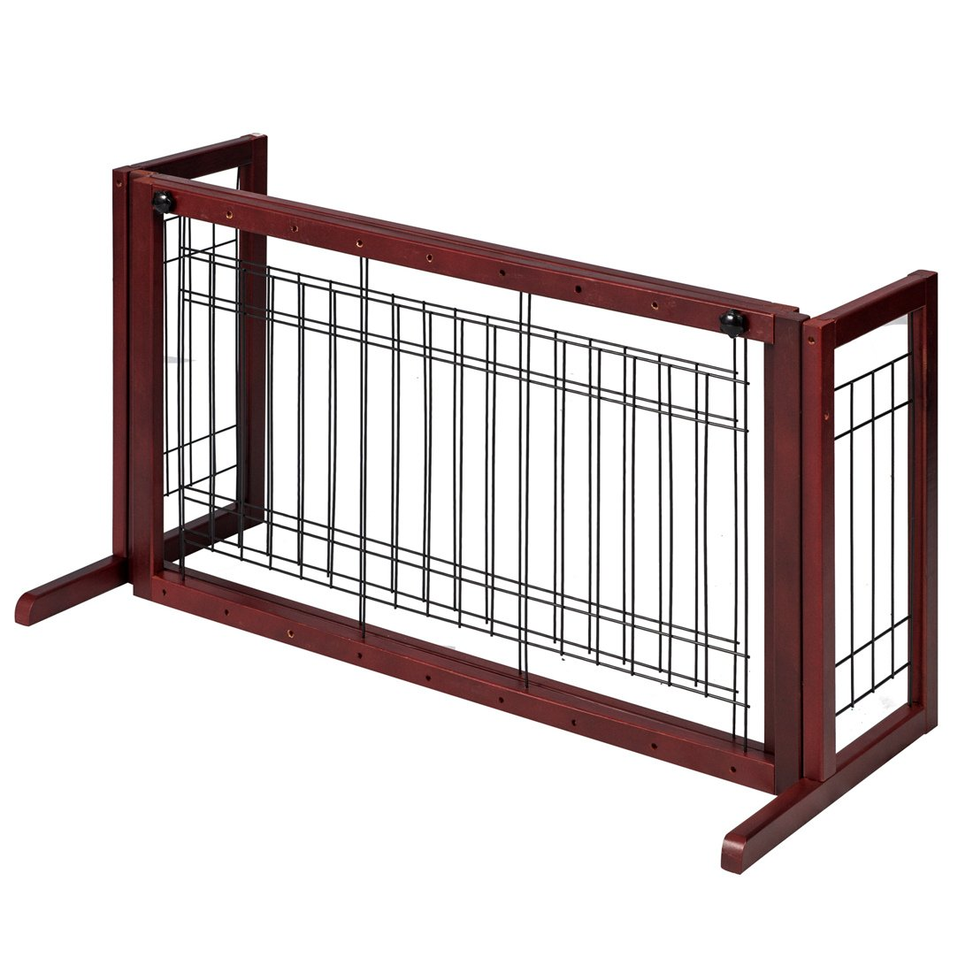 GOOD LIFE Wooden Fence Freestanding Pet Dog Gate Indoor Adjustable Gates for Home Coffee Color 72 Inch PET344 by GOOD LIFE USA (Image #3)