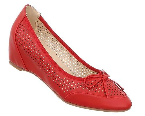 Damen Schuhe Pumps Keilabsatz Wedges High Heels Metallic Party