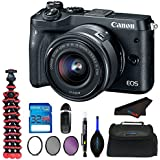 Canon EOS M6 Digital Camera (Black) With EF-M 15-45mm f/3.5-6.3 IS STM Lens + Tripod + 32 Gb Memory Card + Filter Kits and other accessories for Canon M6