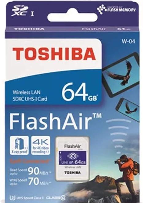 Amazon.com: Toshiba FlashAir W-04 64 GB SDXC Clase 10 ...