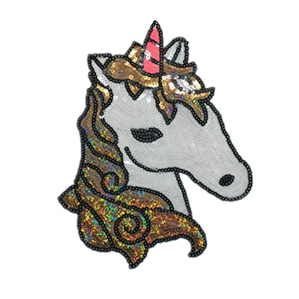 91c39a4b109c 1PC Cartoon Unicorn Embroidered Patch Sequins Sew on or Iron on Patch  Applique DIY Clothes Accessories(Unicorn)
