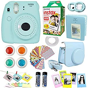 Fujifilm Instax Mini 9 Instant Camera Ice Blue + Fuji Instax Film Twin Pack (20PK) + Blue Camera Case + Frames + Photo Album + 4 Color Filters And More Top Accessories Bundle