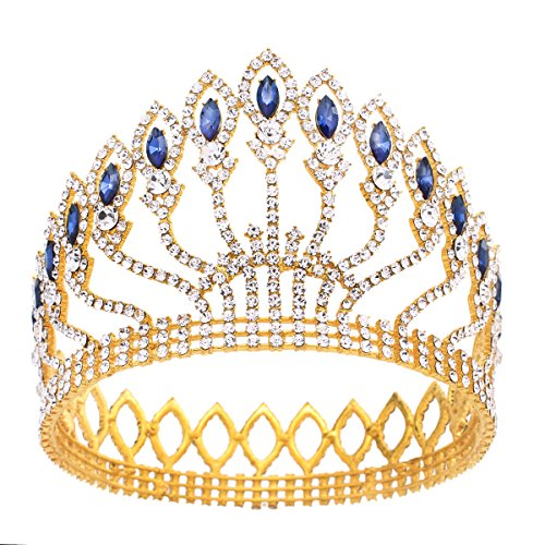(Stuffwholesale Marquise Crystal Crown Women Girl Queen Tiara Banquet Party Headwear (Gold/Dark)