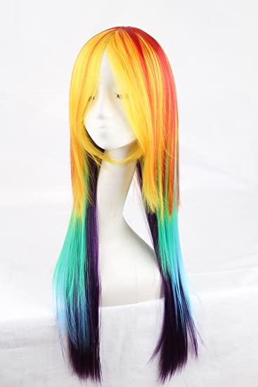 Cool2day Long Synthetic Cosplay Rainbow Wig Dash Multi Color Heat Resistant Cosplay Party/daily Soft
