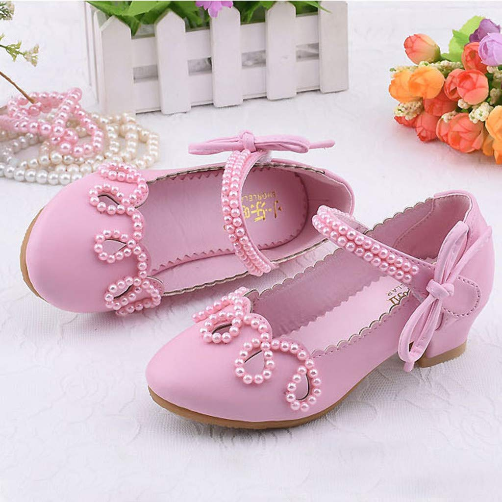 Toddler Girl Pearl Square Heel Single Princess Shoes Casual Party Sandals Suma-ma Kids Girls Leather Shoes