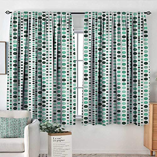 - White Curtains Modern,Retro 60s 70s Vintage Geometrical Circles Dots Points Ombre Image, Teal Turquoise Hunter Green,Decorative Curtains for Living Room and Bedroom 42