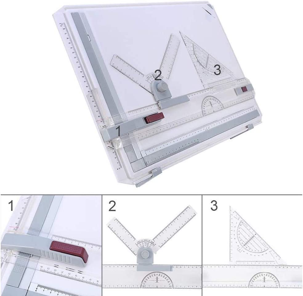 Sliding Ruler Anti Slip Support Legs Protractor Clamps ONDY Drafting Table Portable A3 Drawing Board Multi-Function Drafting Tools Set Architectural Technical Graphic Sketch Set with Set Square