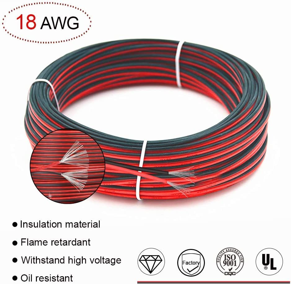 VEENY Extension Cable Wire 66ft 20m 18AWG 300V AC Cable Wire for 3528//2835//5050 LED Light Strip Single Colour with 10 Free Wire Holders /& One Compact Wire Stripper 18AWG 20M