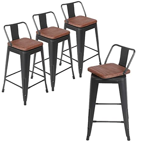 Superb Andeworld Set Of 4 Swivel Counter Height Bar Stools Industrial Metal Bar Stools Low Back Matte Black With Wooden Top Swivel 24 Inch Ocoug Best Dining Table And Chair Ideas Images Ocougorg