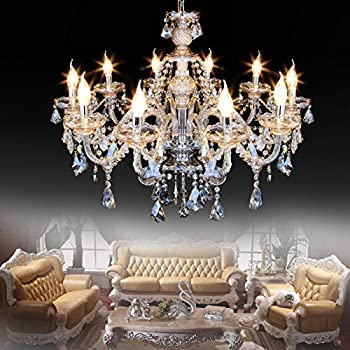 Ridgeyard Cognac10 Lights Modern Luxurious K9 Crystal Chandelier