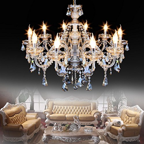 Ridgeyard 25.6 x 35.4 Inch Modern Luxurious 10 Lights K9 Crystal Chandelier Candle Cognac Pendant Lamp Living Room Ceiling Lighting for Dining Bedroom Hallway Entry (Cognac Color)
