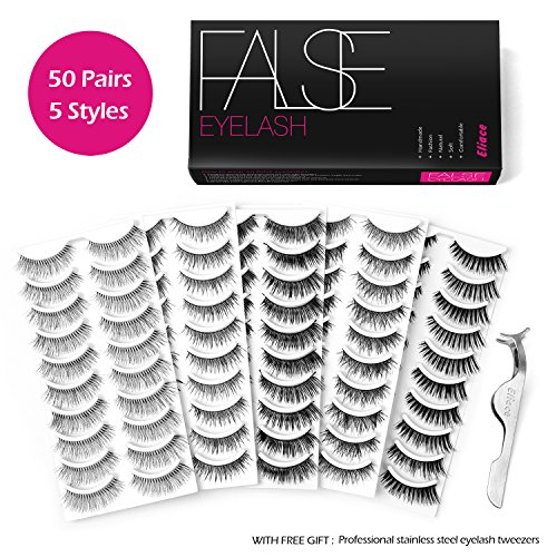 Eliace 50 Pairs 5 Styles Lashes Handmade False Eyelashes Set Professional Fake Eyelashes Pack,10 Pairs Eyes Lashes Each Style,Very Natural Soft and Comfortable,With Free EyeLash Tweezers