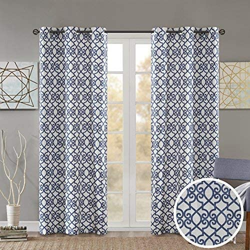 Comfort Spaces Printed Floral Lisbeth Window Curtain Energy Saving Black Out Drapes Grommet Top Darkening Panel Pair for Bedroom Living Room and Dormitory, 63 inch, Navy