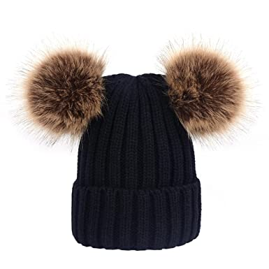 383dbfa6e06 Image Unavailable. Image not available for. Color  TINKSKY Winter Knit  Beanie Bobble Hat Cap With Double Pom Pom Ears ...