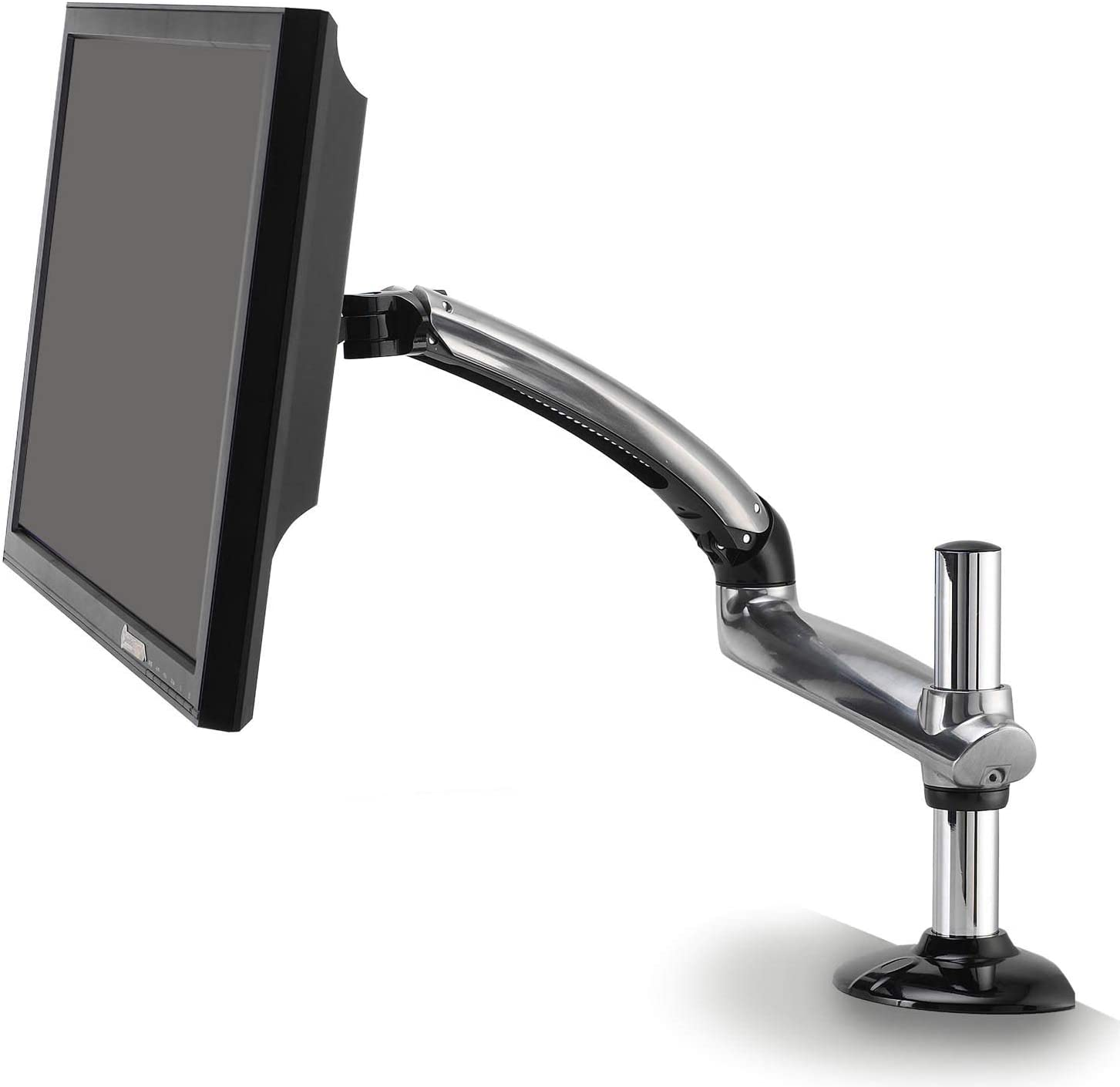 Ergotech Single Freedom Arm, Includes Single Aluminum Articulating Arm, 8.4-17.8 lbs. Weight Capacity, Suitable for Monitors up to 27 inches, VESA Compatible 75×75, 100×100, Silver