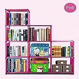 Bluefringe Cabinet Bookshelf 3-Tier 9-grid DIY Adjustable Portable Storage Shelf Cube Shelving Bookcase, Home Office Furniture Storage Organizing Closet Toy Organizer Cabinet Pink