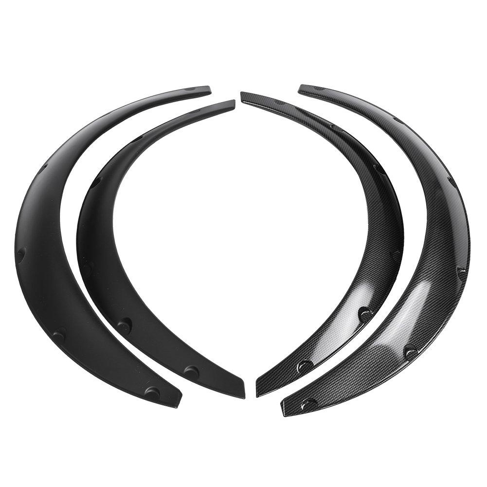 Qiilu QL04539 Universale 4 Pezzi Parafanghi per Auto Flares Arches Wheel Sopracciglio Protector(Silver)