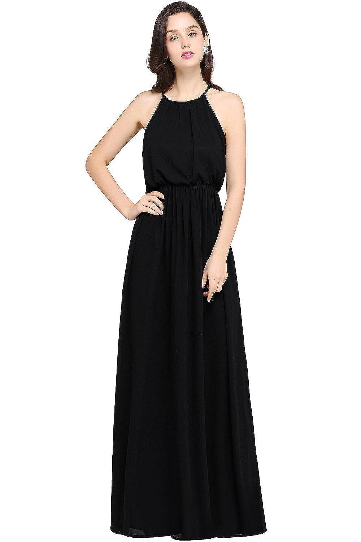 d5ce4e98d Amazon.com: Babyonlinedress Halter Casual Maxi Dress Women's Chiffon Formal  Evening Dress: Clothing