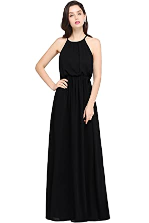 41874bc7dd31 Babyonlinedress Women's Halter Solid Sleeveless Long Maxi Dress, Black, ...
