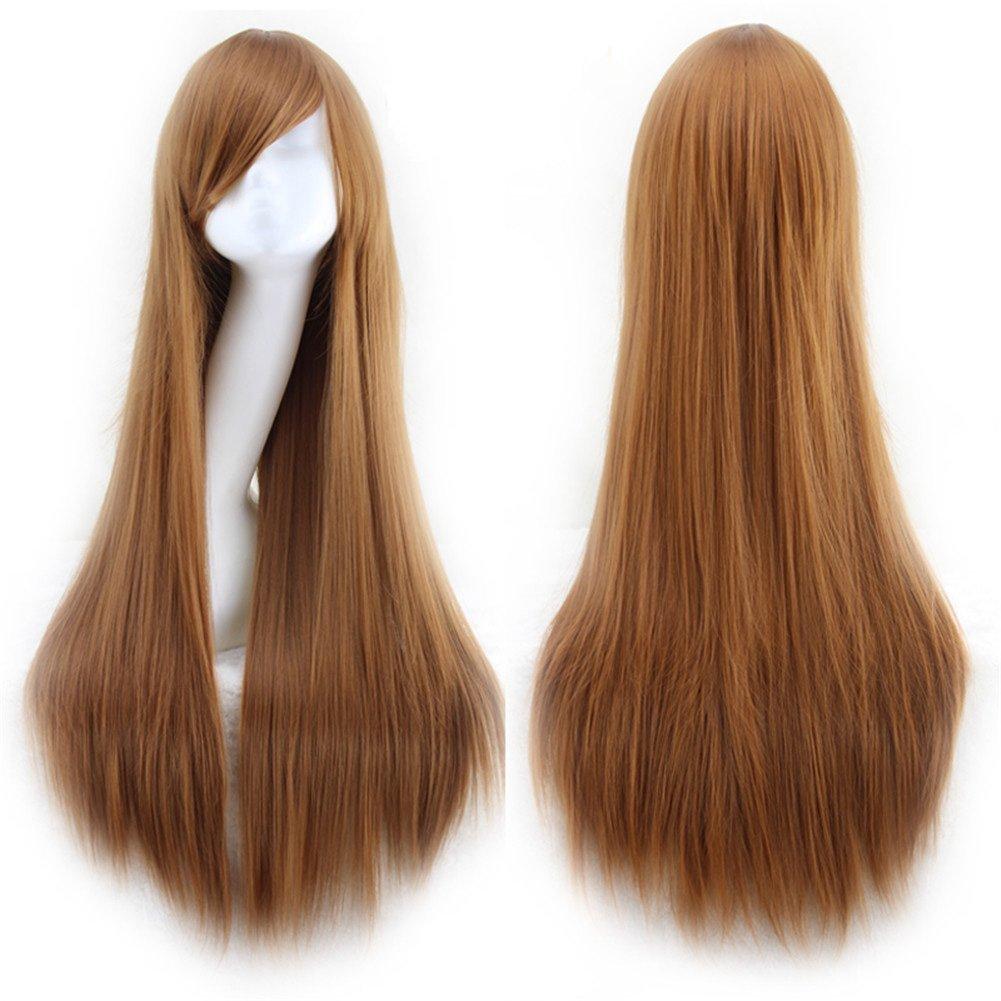 "CLOCOLOR 32"" 80CM Peluca de pelo largo liso con flequillo disfraz para mujer cosplay fiesta Halloween peluca sintética de moda calor resistente (azul claro) CO-609977"