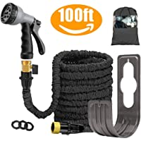 Liwiner 100 FT Expandable Garden Water Hose Pipe/Magic Expanding Flexible Hose with Brass Fittings Valve 8 Function Spray Gun Nozzle Wall Holder/Storage Bag