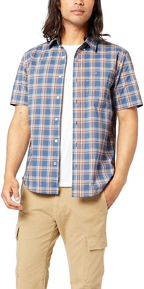 Dockers Men's Short-Sleeve Button-Down Comfort Flex Shirt-Plaid