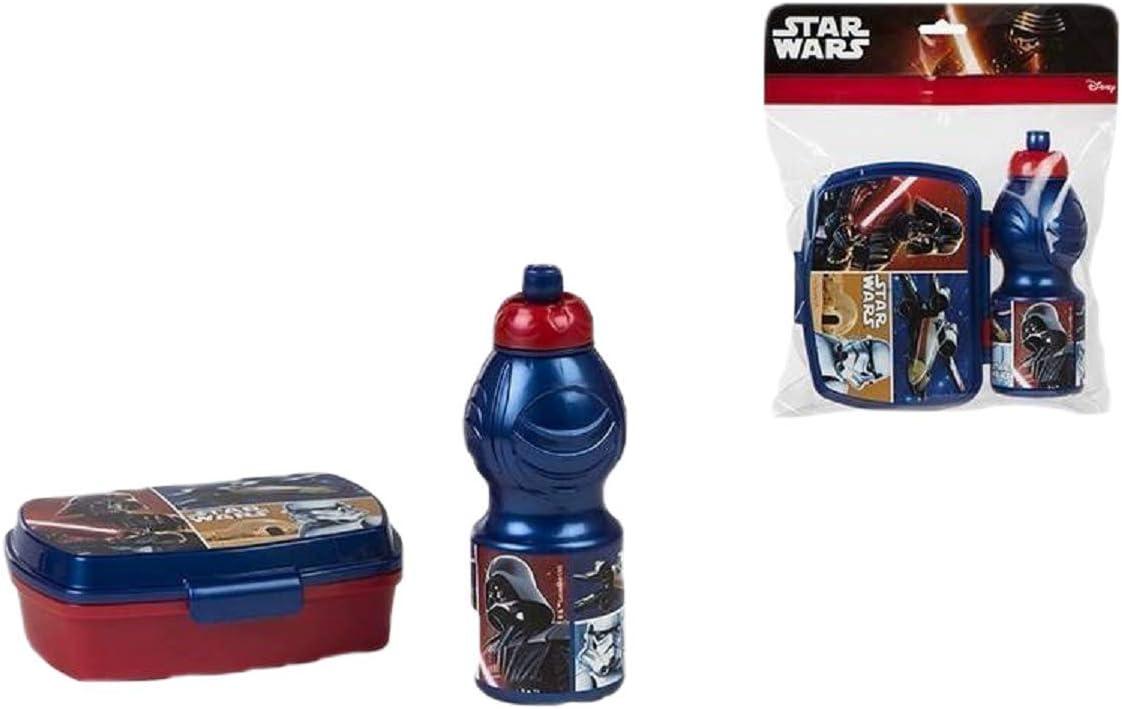 ALMACENESADAN 2624; Pack Vuelta al Cole Star Wars; Compuesto por Sandwichera 16,5x11,5x5,5 cm y Botella de Agua 400 ml; Producto de plástico; Libre BPA