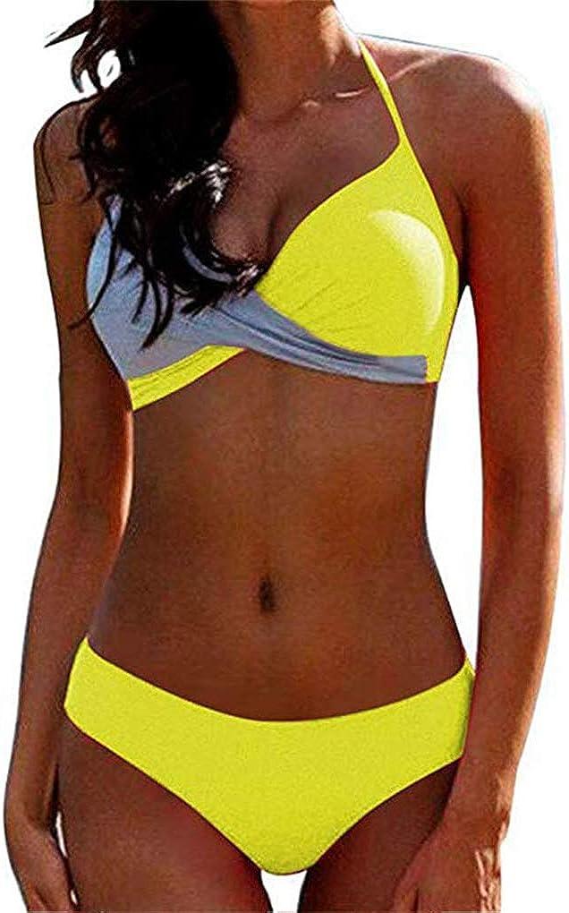 Yutdeng 2020 Mujer Traje de Baño Conjunto Sexy Push Up con Relleno Halter Bikini Bañador Elegante Cross Bicolor Brasileños Tanga Ropa de Playa