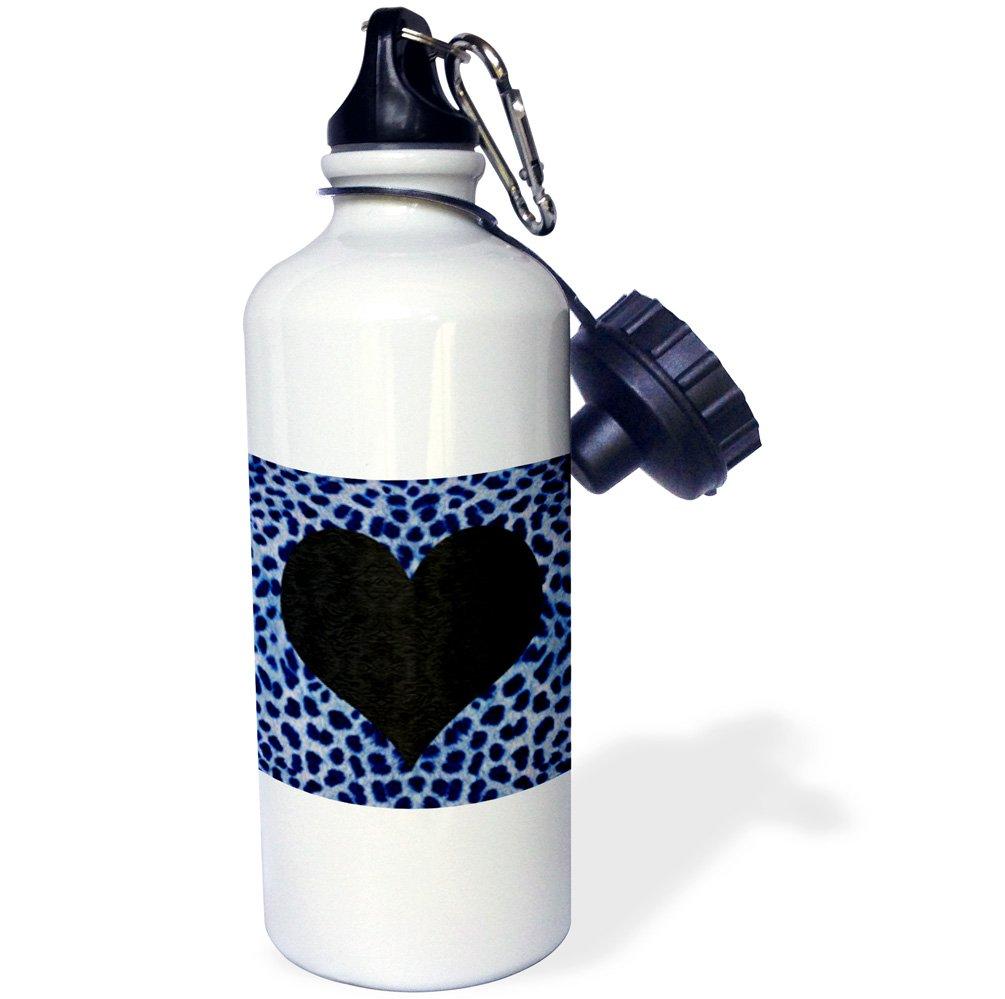 3dRose wb_20397_1''Punk Rockabilly Blue Cheetah Animal Print Black Heart'' Sports Water Bottle, 21 oz, White