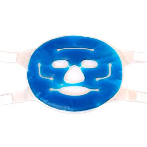 HealthAndYoga(TM) Anti-Fatigue Cooling Gel Face Mask with Self-Stick Strap - Facial Skin Refresh