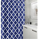 HomeyHouse Geometric Patterned Bathroom Shower Curtain 72-inch By 72-inch (Navy)