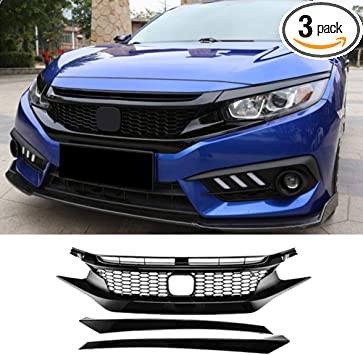 Grille Fit for Honda Civic 10th Gen 2016 2017 2018 Factory Style Gloss Black Front Upper Bumper Grille Hood Eye Lid ABS Plastic