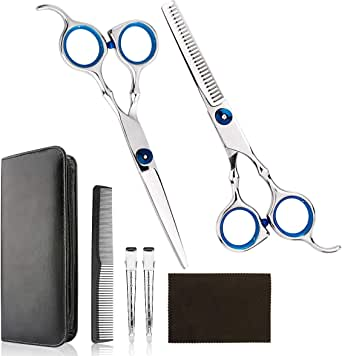 Professional Home Hair Cutting Kit - Quality Home Hair cutting Scissors Barber/Salon/Home Thinning Shears Kit with Comb and Case for Men and Women