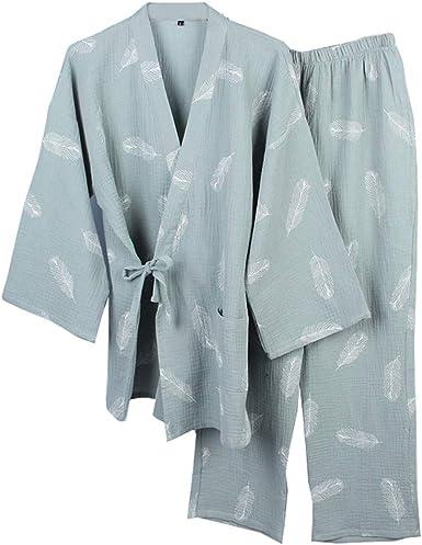 Bata Japonesa para Hombre, Pijama de Kimono, camisón Fino [Verde, Talla L]