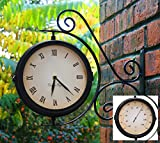 Indoor Outdoor Garden Yard Bracket Clock & Thermometer (13.8ins)