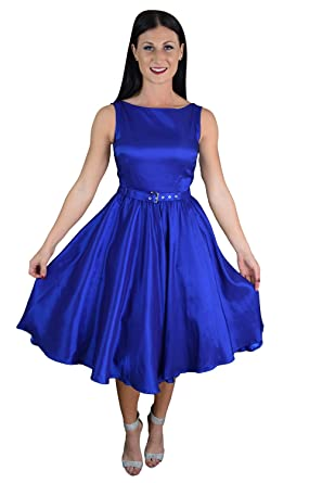 Skelapparel Rockabilly Blue Satin Flare Swing Dress (6)