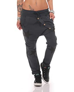 ZARMEXX señoras pantalón holgado de novio con botones pantalones deportivos  pantalones de chándal de algodón pantalones a4982b196b169