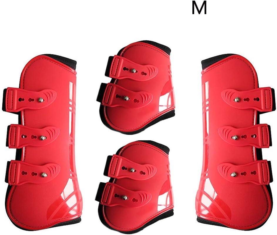 Faderr 4 Piezas de Botas de equino y Protector Fetlock para Caballo, Ajustable con Carcasa de Poliuretano, a Prueba de Golpes, para Saltar, Montar en Bicicleta, Eventos, Rojo, Medium