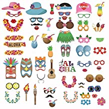 60Pcs Funny Photo Booth Props Kit Photobooth Prop Card Cute Eyeglasses Pineapple Drinks Flower Band Pattern Decoration for Holiday Wedding Graduation Beach Birthday Tropical Hawaiian Summer Parties