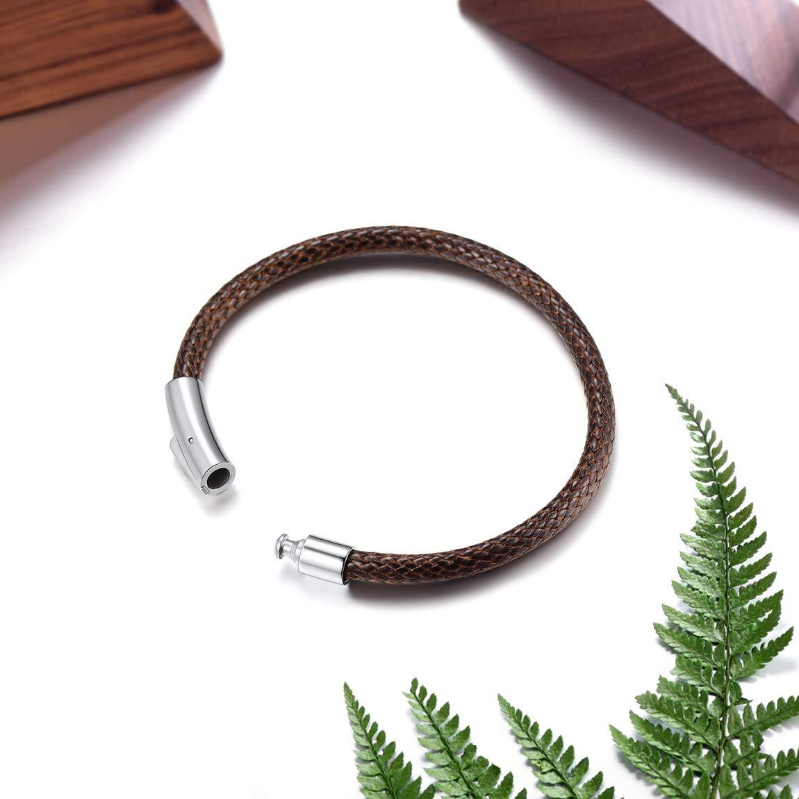 ChainsPro Bracelet de Manchette avec 5MM Corde Tress/ée Noir//Brun 18//20//22 cm en Cuir V/éritable de Haute Qualit/é Bracelet Cuir pour Homme Femme pour Hommes Femmes Motard Punk Rock Fantaisie Bijoux