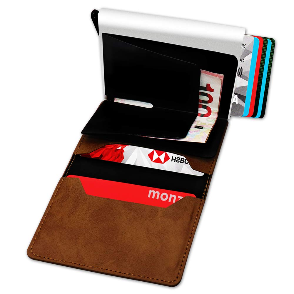 Credit Card Wallet Automatic Pop-up Minimalist Slim PU Leather and Aluminum Metal Men Women Contactless Card Protector with Cash Holder and Luxury Gift Box RFID Blocking Card Holder Brown