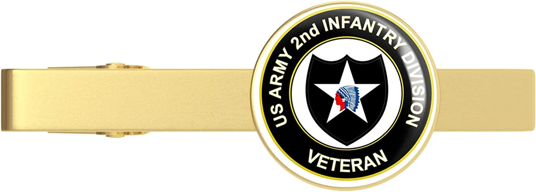 HOF Trading Gold U.S. Army Veteran 2nd Infantry Division Gold Tie Clip Tie Bar Veteran Gift