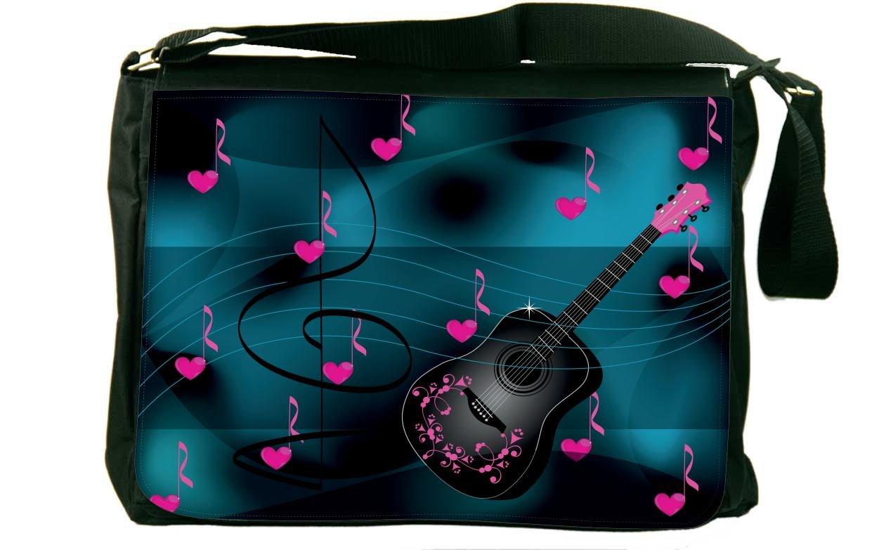 Rikki Knight Guitar Pink Love Hearts Messenger Bag School Bag