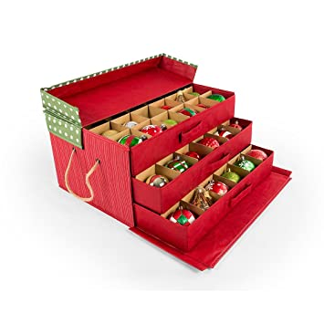 Great 3 Tray Ornament Storage Box With Dividers (Polka Dot)