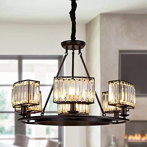 OSAIRUOS Vintage Crystal Chandelier Modern Contemporary Farmhouse Chandeliers Pendant Lighting Fixture for Living Room, Dining Room, Bedroom, Entryway W28.7 6-Lights