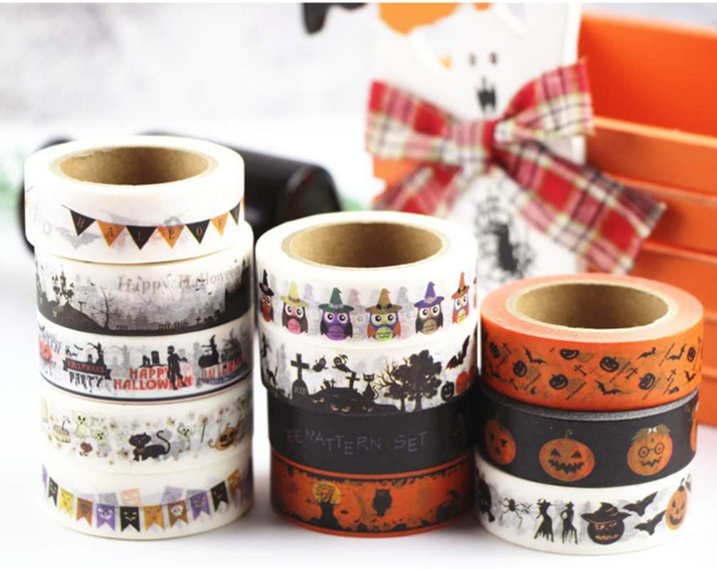 Healifty 6pcs Halloween Washi Paper Tapes Cartoon Masking Tape Collection for Holiday DIY Craft Gift Wrapping Scrapbook Decor 1.5CM Mixed Pattern