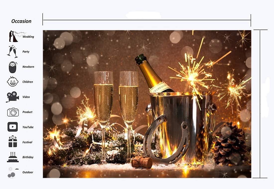 Flaschen Gl/ücksbringer f/ür Champagner 17,8 x 152,4 cm Hintergrund f/ür Silvester Haosphoto HS52 Hintergrund f/ür das Neue Jahr 2020 Eimer Hufeisen Bokeh Fotografie Vinyl